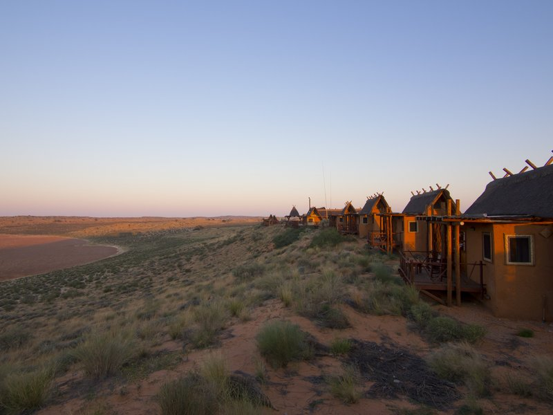 xaus lodge exterior at dawn